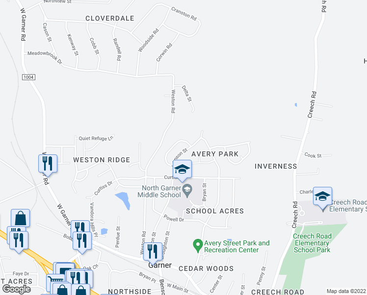 map of restaurants, bars, coffee shops, grocery stores, and more near 425 Johnson Street in Garner
