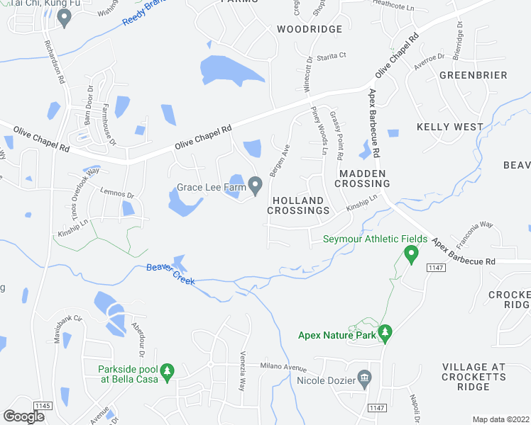 map of restaurants, bars, coffee shops, grocery stores, and more near 418 Bergen Avenue in Apex