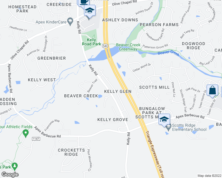 map of restaurants, bars, coffee shops, grocery stores, and more near 1819 Kelly Glen Drive in Apex