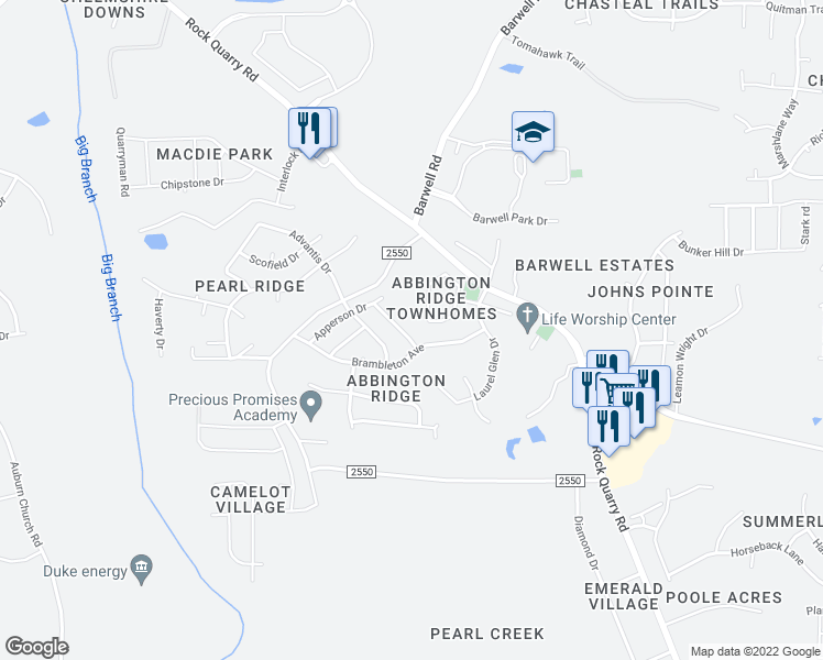 map of restaurants, bars, coffee shops, grocery stores, and more near 5841 Bryanstone Place in Raleigh