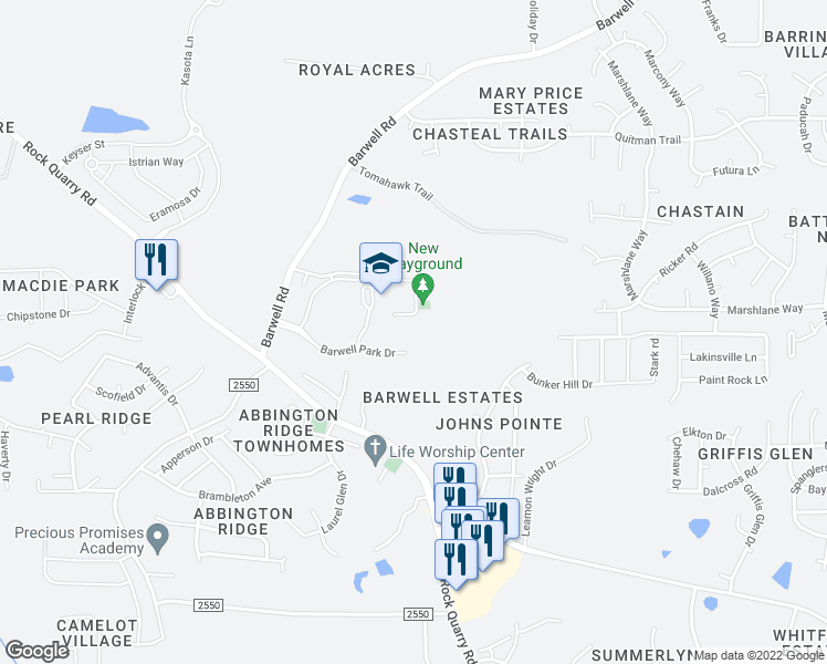 map of restaurants, bars, coffee shops, grocery stores, and more near 3925 Barwell Road in Raleigh
