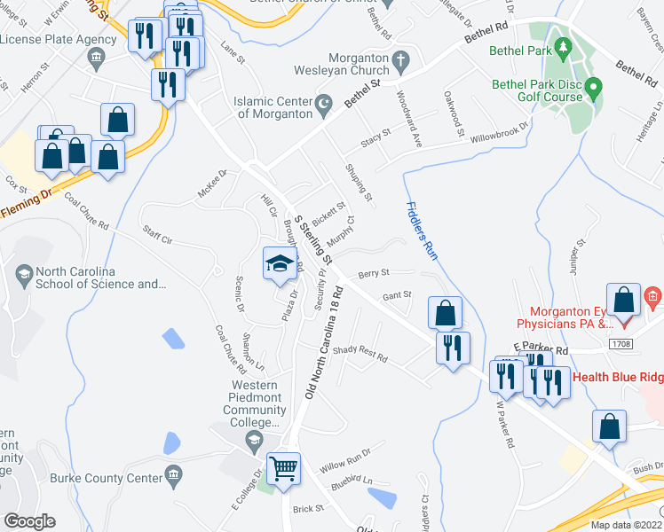 map of restaurants, bars, coffee shops, grocery stores, and more near Hilton Street in Morganton