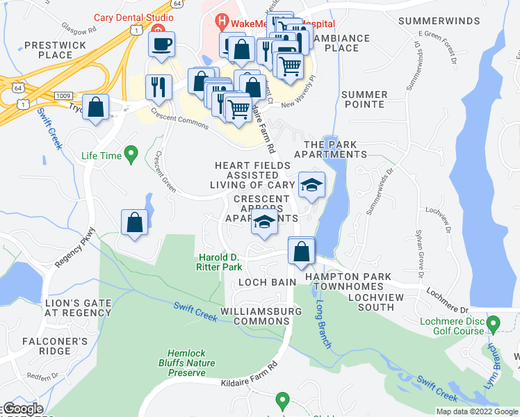 map of restaurants, bars, coffee shops, grocery stores, and more near 2395-2449 Trellis Green in Cary