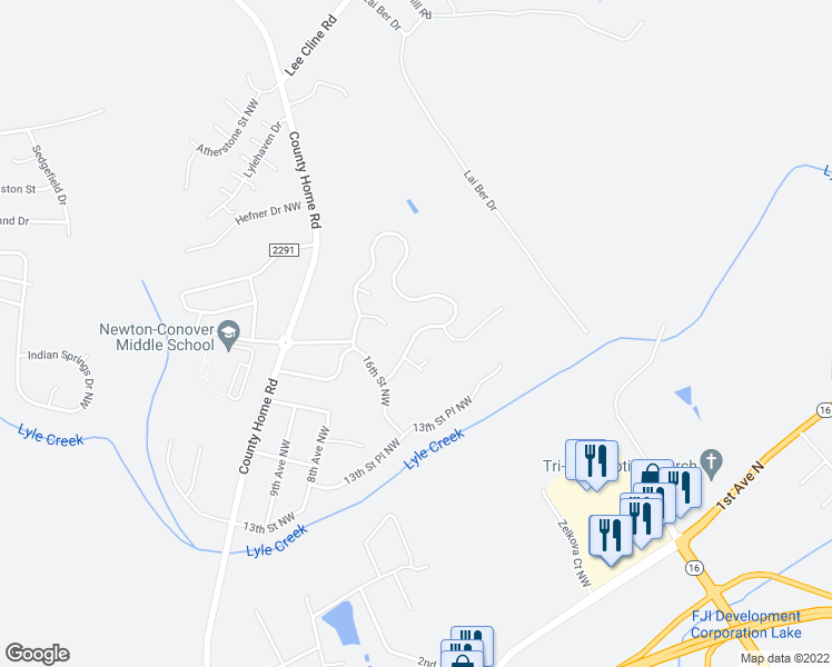 map of restaurants, bars, coffee shops, grocery stores, and more near Piper's Ridge Circle Northwest in Conover