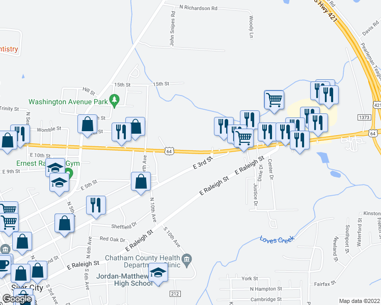 map of restaurants, bars, coffee shops, grocery stores, and more near 1317-1389 East 11th Street in Siler City