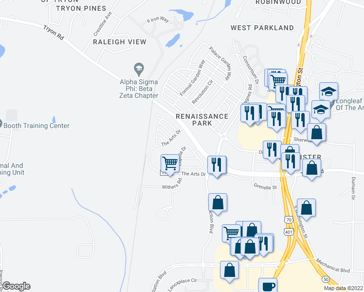map of restaurants, bars, coffee shops, grocery stores, and more near 648 Cupola Drive in Raleigh