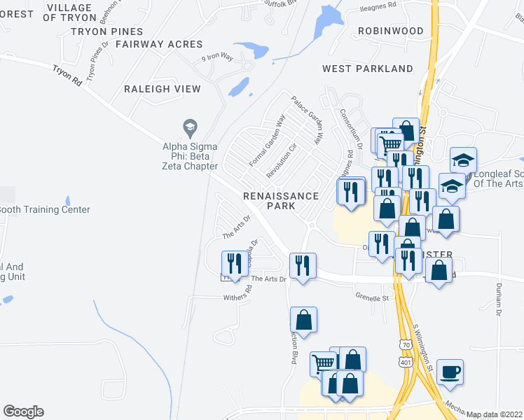 map of restaurants, bars, coffee shops, grocery stores, and more near 1431 Palace Garden Way in Raleigh