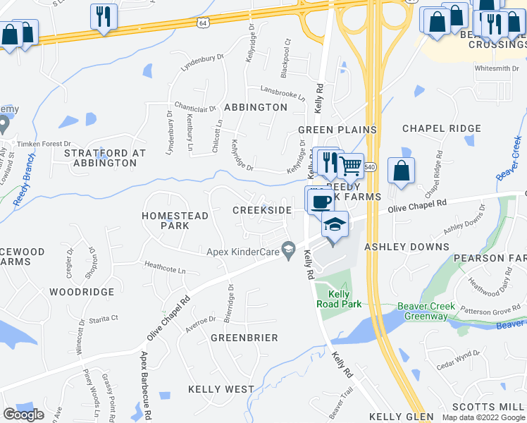 map of restaurants, bars, coffee shops, grocery stores, and more near Evening Star Drive in Apex