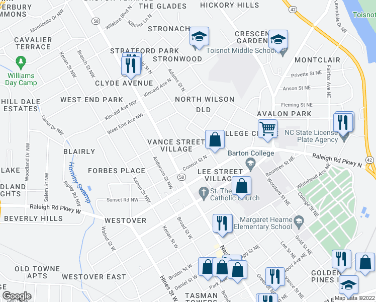 map of restaurants, bars, coffee shops, grocery stores, and more near Vance Street East in Wilson