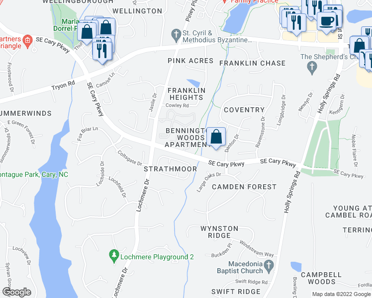 map of restaurants, bars, coffee shops, grocery stores, and more near 1100-1198 Rice Ranch Way in Cary