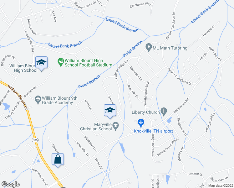 map of restaurants, bars, coffee shops, grocery stores, and more near 935 Elsborn Ridge Road in Maryville