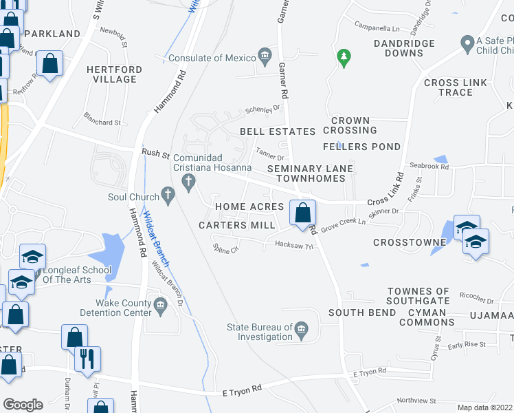 map of restaurants, bars, coffee shops, grocery stores, and more near 509 Shelden Drive in Raleigh