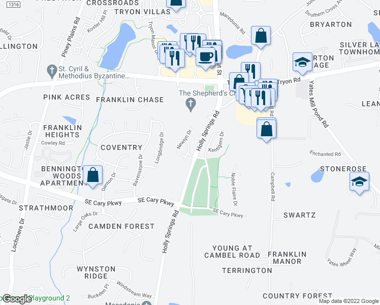 map of restaurants, bars, coffee shops, grocery stores, and more near 229 Fenella Drive in Raleigh