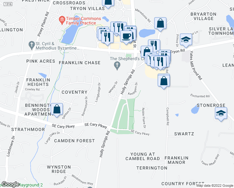 map of restaurants, bars, coffee shops, grocery stores, and more near 225 Fenella Drive in Raleigh