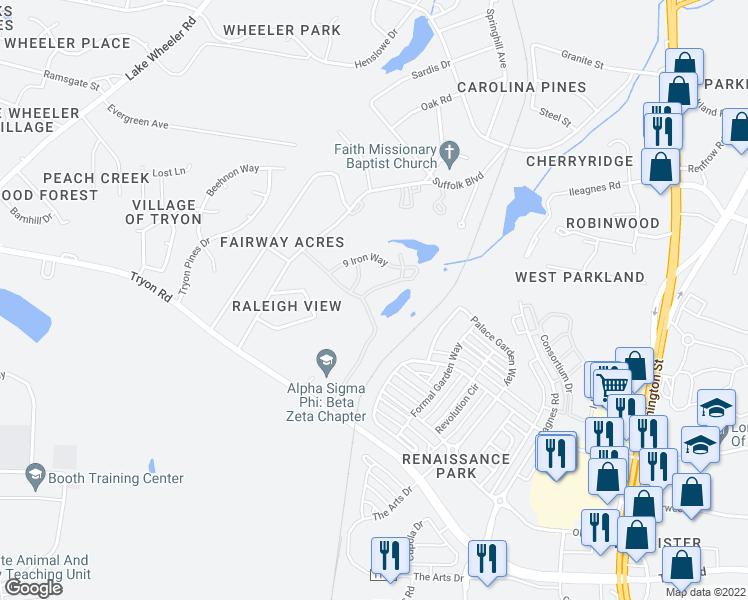 map of restaurants, bars, coffee shops, grocery stores, and more near 2805 Par Drive in Raleigh