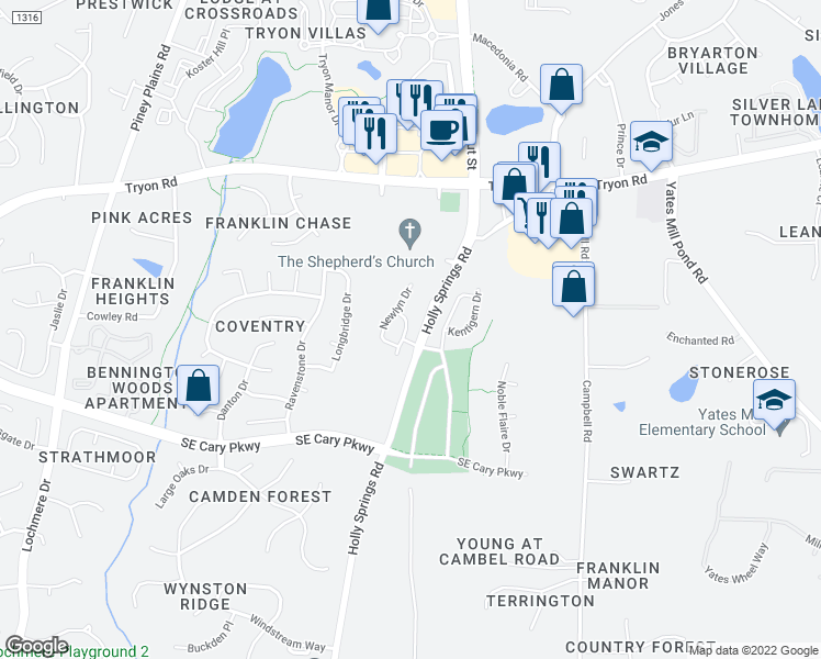 map of restaurants, bars, coffee shops, grocery stores, and more near 221 Fenella Drive in Raleigh