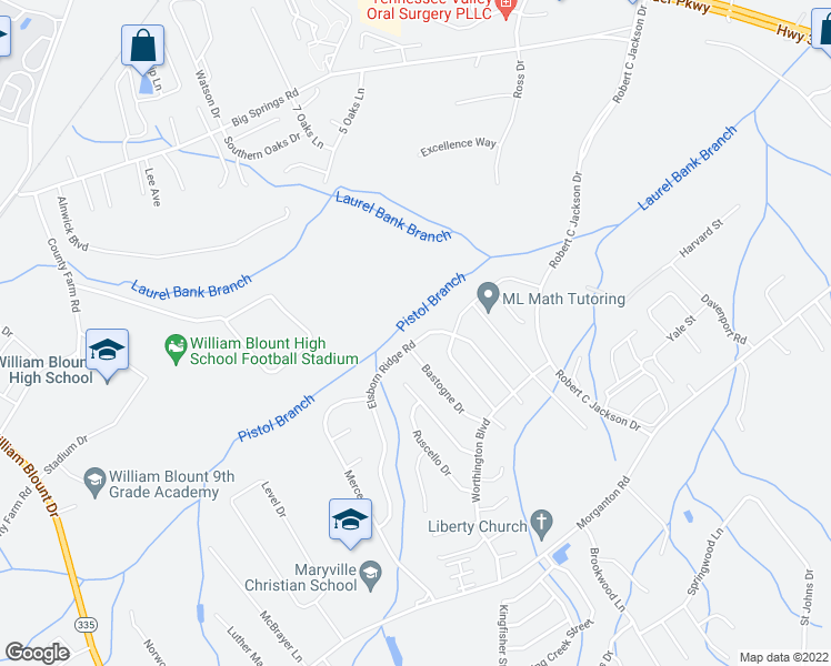 map of restaurants, bars, coffee shops, grocery stores, and more near 1107 Elsborn Ridge Road in Maryville