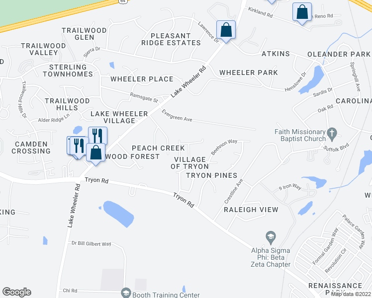 map of restaurants, bars, coffee shops, grocery stores, and more near 2210 Valley Haven Drive in Raleigh