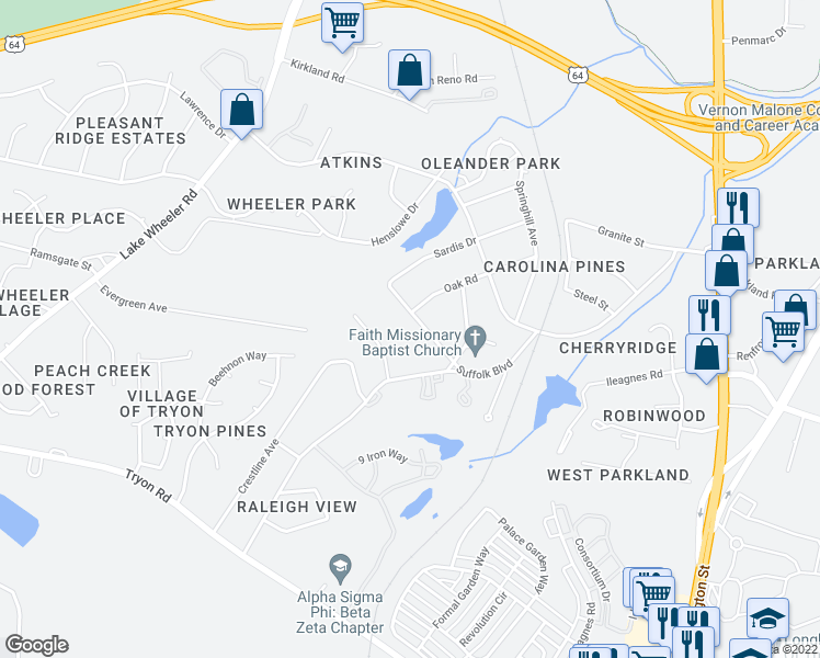 map of restaurants, bars, coffee shops, grocery stores, and more near 1033 Suffolk Boulevard in Raleigh