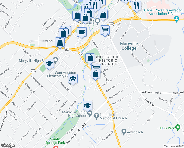 map of restaurants, bars, coffee shops, grocery stores, and more near 747 Montvale Road in Maryville
