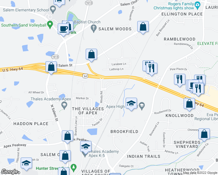 map of restaurants, bars, coffee shops, grocery stores, and more near 4000 Spotter Drive in Apex