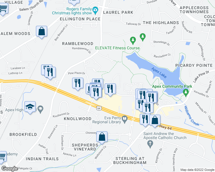 map of restaurants, bars, coffee shops, grocery stores, and more near 1021 Pine Plaza Drive in Apex