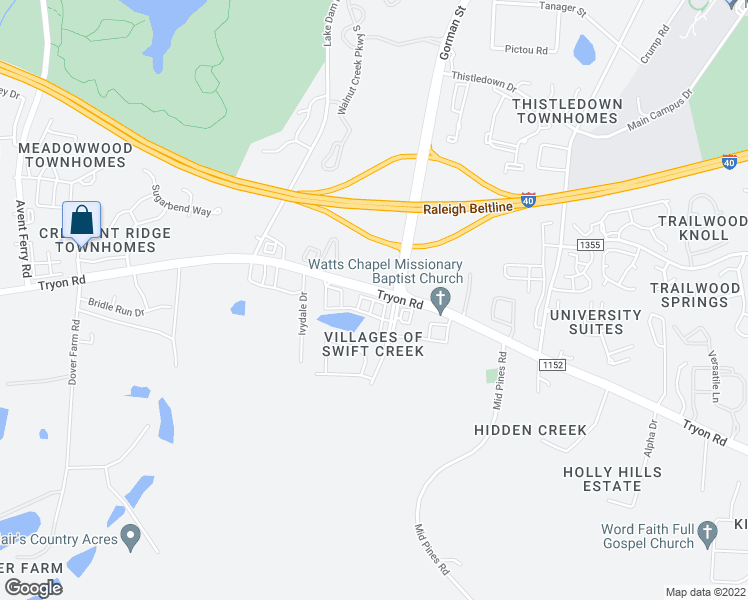 map of restaurants, bars, coffee shops, grocery stores, and more near Glenhaven Road in Raleigh