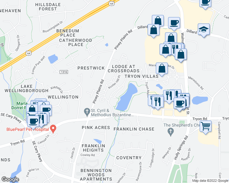 map of restaurants, bars, coffee shops, grocery stores, and more near 200 Brisbane Woods Way in Cary