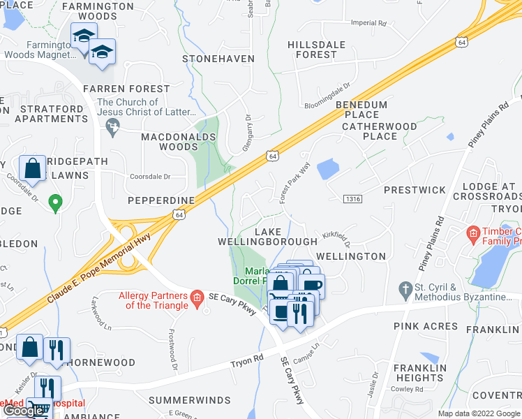 map of restaurants, bars, coffee shops, grocery stores, and more near 722 Renshaw Court in Cary