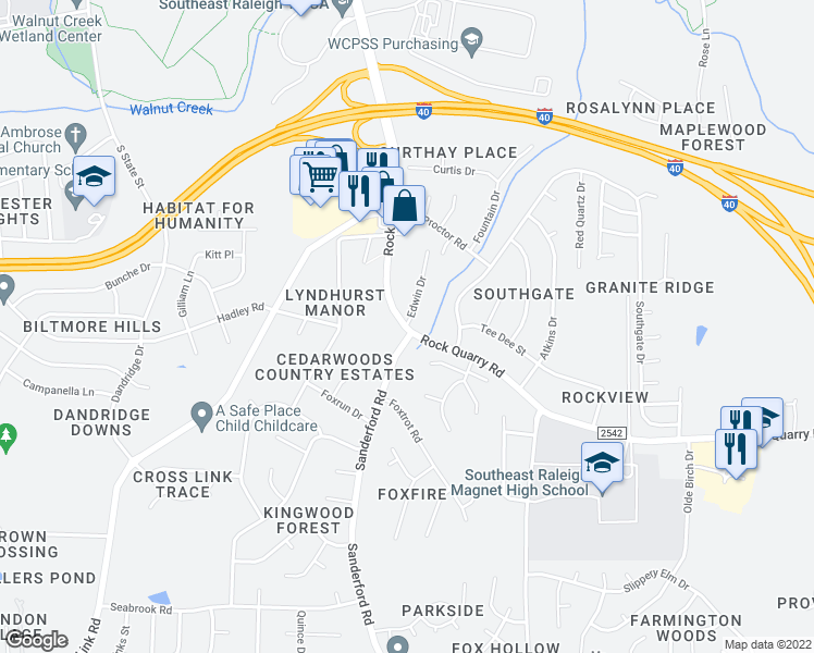 map of restaurants, bars, coffee shops, grocery stores, and more near 2099 Edwin Dr in Raleigh