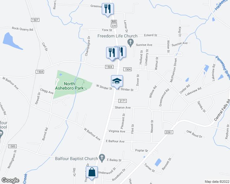 map of restaurants, bars, coffee shops, grocery stores, and more near 201 West Strider Street in Asheboro