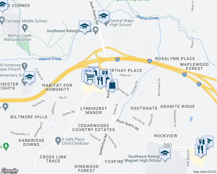 map of restaurants, bars, coffee shops, grocery stores, and more near Rock Quarry Rd & Proctor St in Raleigh