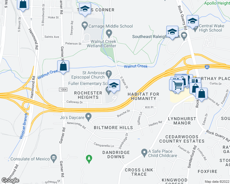 map of restaurants, bars, coffee shops, grocery stores, and more near 806 Calloway Drive in Raleigh