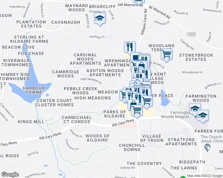 map of restaurants, bars, coffee shops, grocery stores, and more near High Meadow Drive in Cary