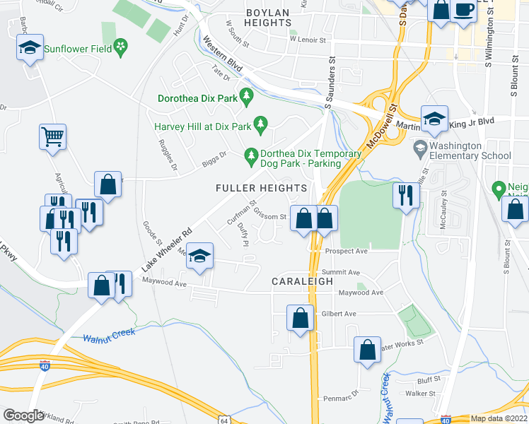 map of restaurants, bars, coffee shops, grocery stores, and more near 436 Grissom Street in Raleigh