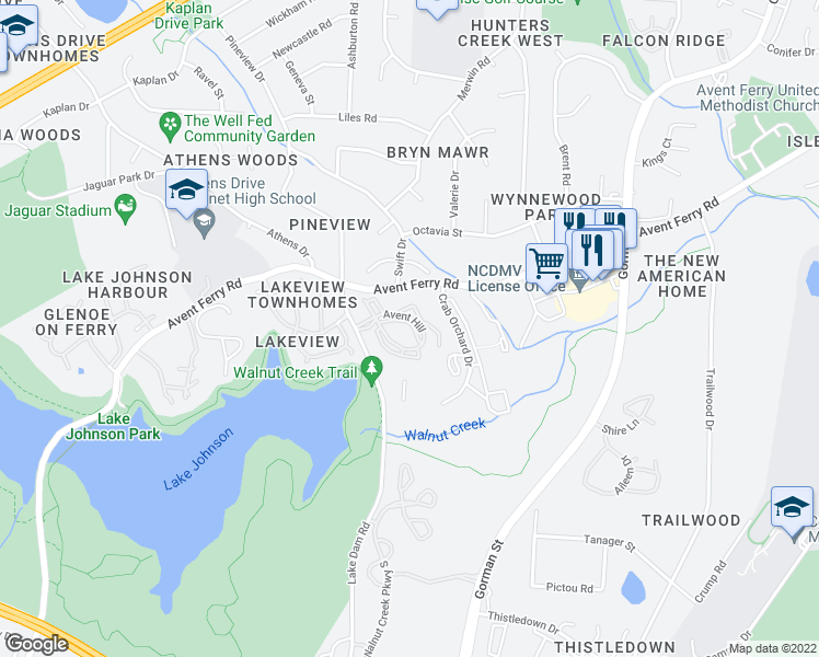 map of restaurants, bars, coffee shops, grocery stores, and more near 1025 Avent Hill in Raleigh