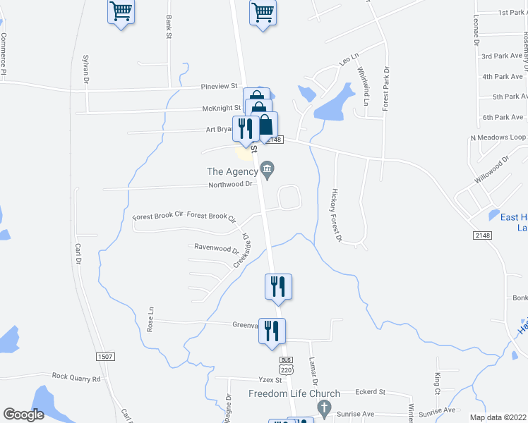 map of restaurants, bars, coffee shops, grocery stores, and more near 2-1000 Forest Brook Circle in Asheboro