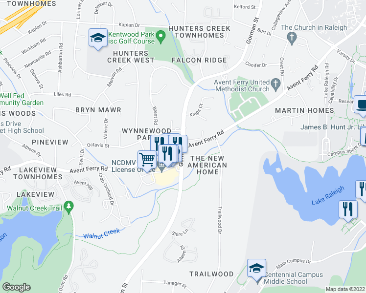 map of restaurants, bars, coffee shops, grocery stores, and more near Gorman Street & Avent Ferry Road in Raleigh