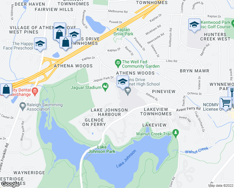 map of restaurants, bars, coffee shops, grocery stores, and more near 1420 Athens Drive in Raleigh