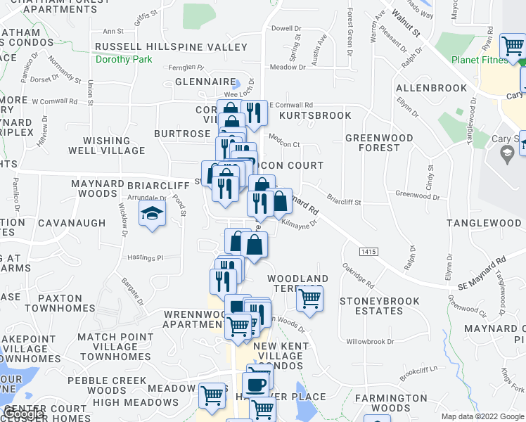 map of restaurants, bars, coffee shops, grocery stores, and more near in Cary