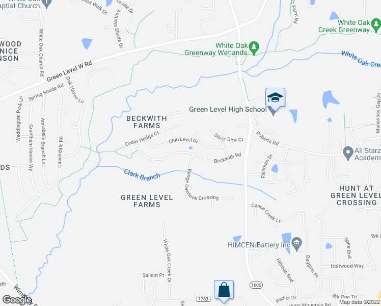 map of restaurants, bars, coffee shops, grocery stores, and more near Beckwith Farm Road in Apex