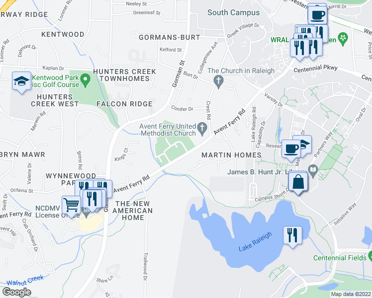 map of restaurants, bars, coffee shops, grocery stores, and more near 2712 Brigadoon Drive in Raleigh