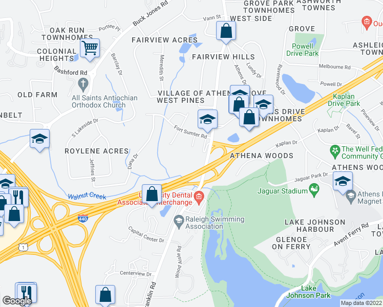 map of restaurants, bars, coffee shops, grocery stores, and more near 614 Appleton Drive in Raleigh