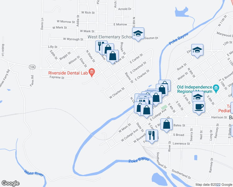 map of restaurants, bars, coffee shops, grocery stores, and more near West Charles Street in Batesville