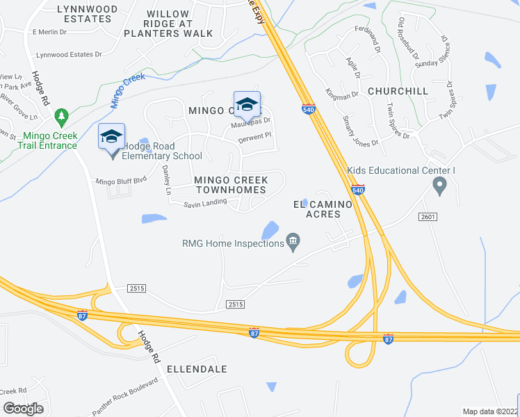 map of restaurants, bars, coffee shops, grocery stores, and more near 1109 Plexor Lane in Knightdale