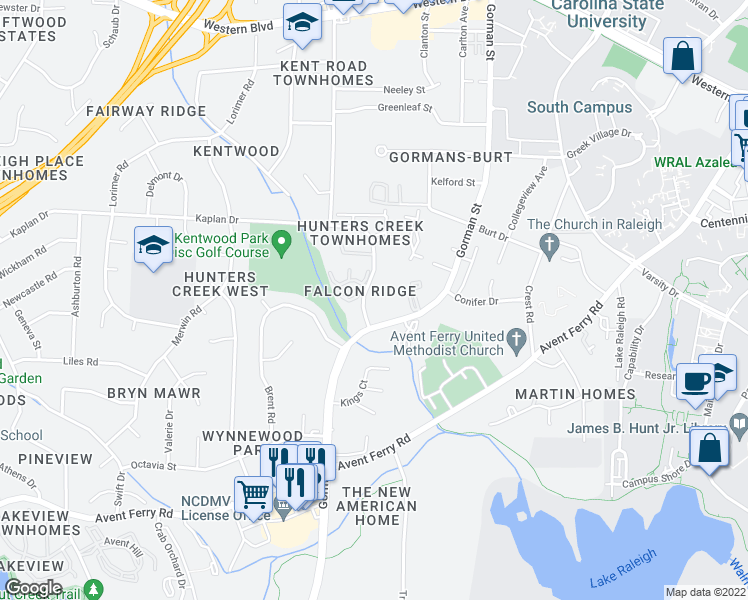 map of restaurants, bars, coffee shops, grocery stores, and more near 4128 Kaplan Drive in Raleigh
