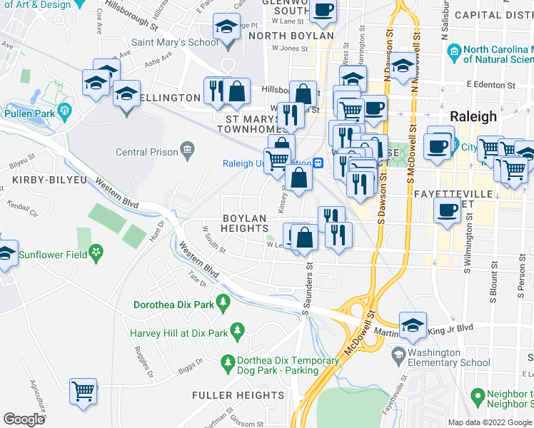 map of restaurants, bars, coffee shops, grocery stores, and more near 425 South Boylan Avenue in Raleigh