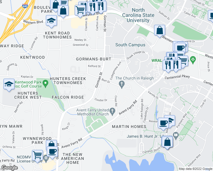 map of restaurants, bars, coffee shops, grocery stores, and more near 1604 Collegeview Avenue in Raleigh