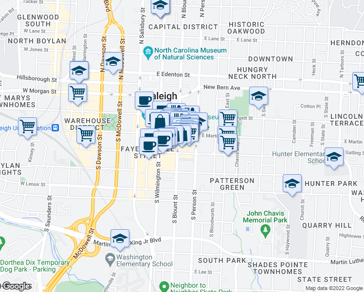 map of restaurants, bars, coffee shops, grocery stores, and more near 339 South Blount Street in Raleigh