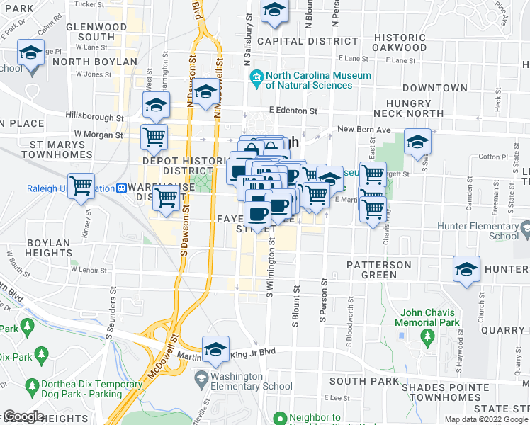 map of restaurants, bars, coffee shops, grocery stores, and more near 319 Fayetteville Street in Raleigh